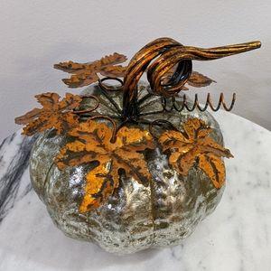Silver / bronze metallic metal pumpkin decor